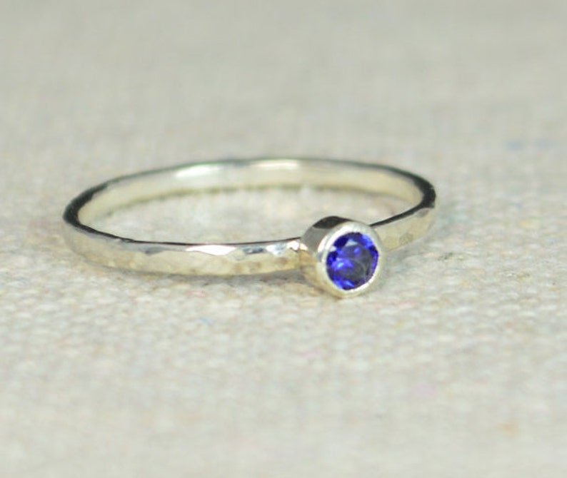 Classic Sterling Silver Sapphire Ring Silver Ring Sapphire image 0