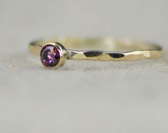 Dainty Gold Alexandrite Ring, Hammered Gold, Stackable Rings, Mother's Ring, June Birthstone Ring, Skinny Ring, Birthday Ring, 14K Gold Fill
