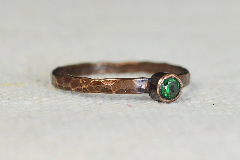 Bronze Copper Emerald Ring Classic Size Stackable Rings image 0
