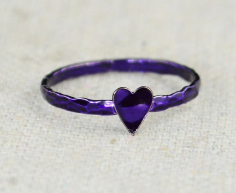 Tiny Purple Heart Ring Sterling Silver Purple Ring image 0