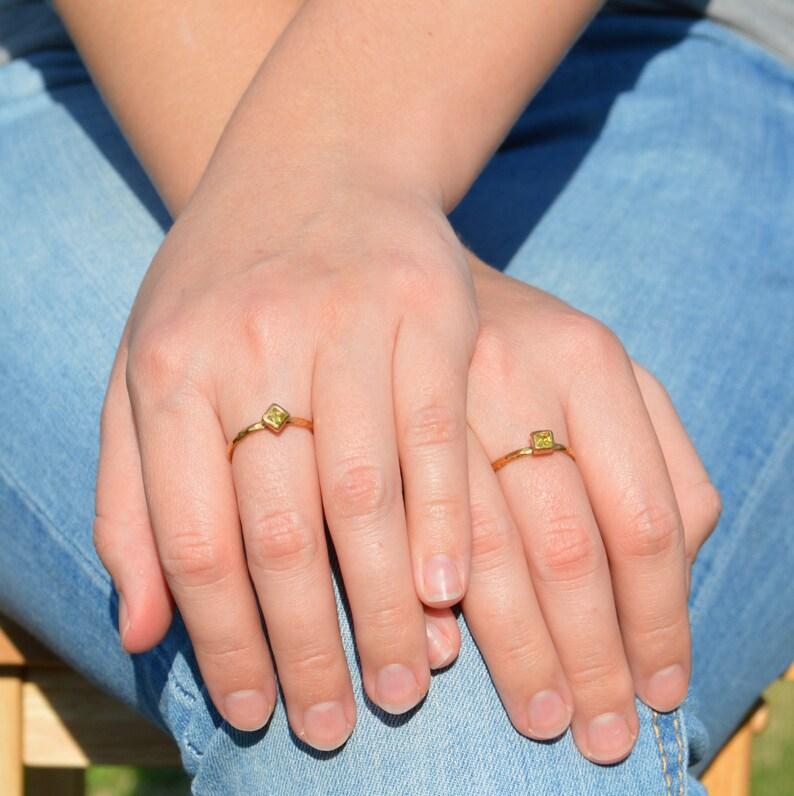 Square Topaz  Ring Gold Filled Topaz Ring November image 0