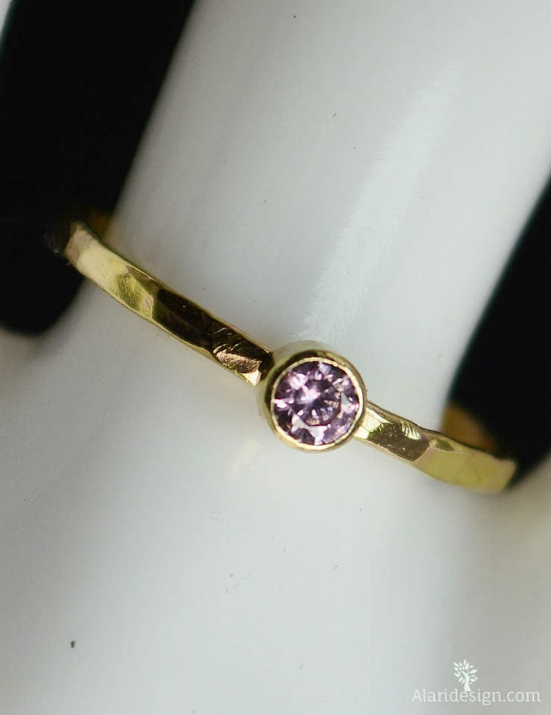 Classic 14k Gold Filled Pink Tourmaline Ring Gold solitaire image 0