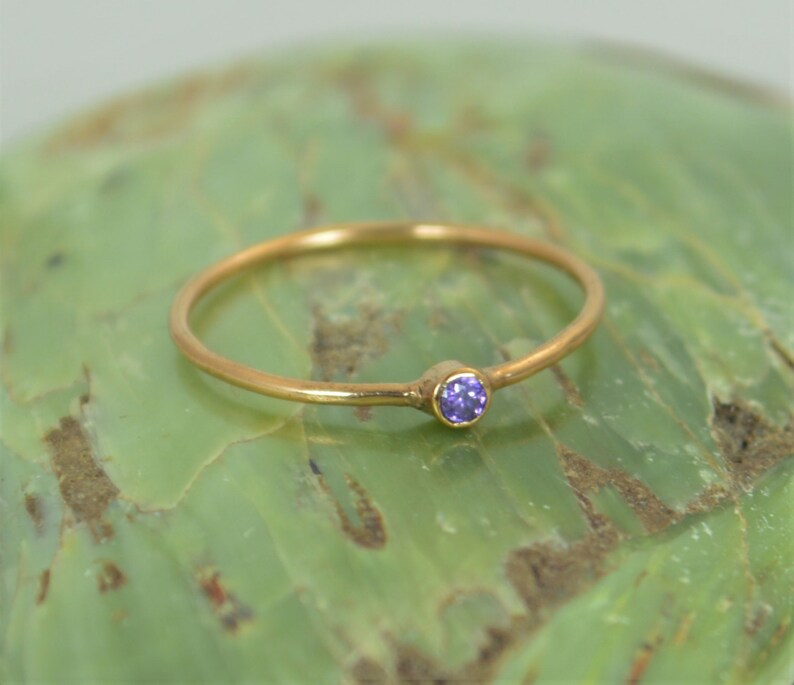 Tiny Amethyst Ring Solid 14k Rose Gold Amethyst Stacking image 0