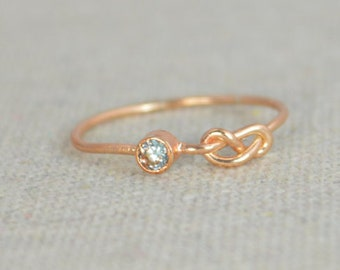 Aquamarine Infinity Ring, Rose Gold Filled Ring, Stackable Rings, Mothers Ring, March Birthstone Ring, Rose Gold Knot Ring, Band