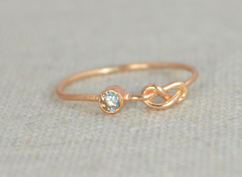 Aquamarine Infinity Ring Rose Gold Filled Ring Stackable image 0
