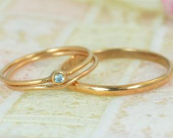 Tiny Aquamarine Ring Set, Solid 14k Rose Gold Wedding Set, Aquamarine Stacking Ring, Gold Aquamarine Ring, March Birthstone, Bridal Set