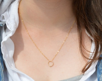 Solid 14k Gold Dew Drop Necklace, Solid 14k Gold Circle Necklace, Dew Drop Necklace, Minimal Necklace, Dainty Necklace, Bohemian Necklace