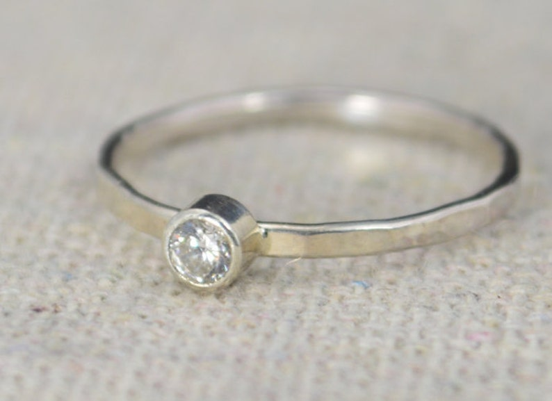 Classic Sterling CZ Diamond Ring 3mm Silver solitaire White image 0