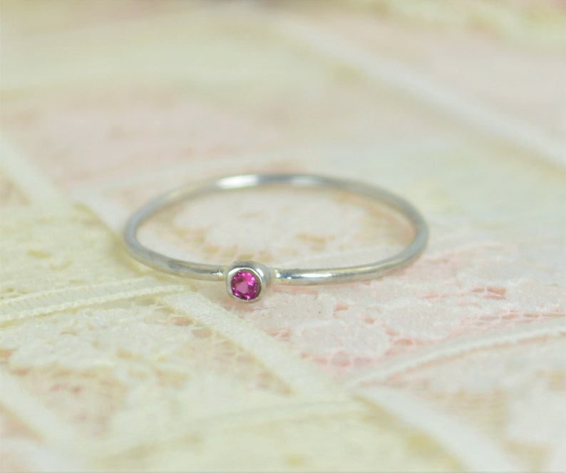 Tiny Ruby Ring Set Solid White Gold Wedding Set Stacking image 0