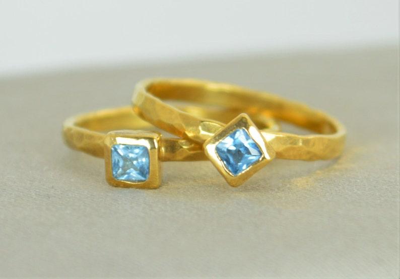Square Aquamarine Ring Aquamarine  Gold Ring March image 0