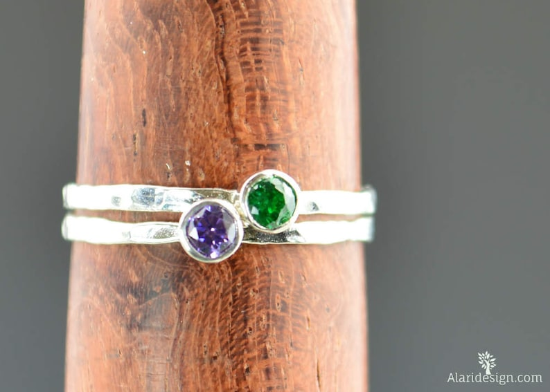 Grab 2 Mothers Rings Silver Ring Birthstone Mothers Ring image 0