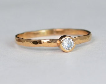 Classic Solid 14k Rose Gold CZ Diamond Ring, Solitaire, White Ring, Solid Gold, April Birthstone, Mothers Ring, Solid Rose Gold Band, Gold