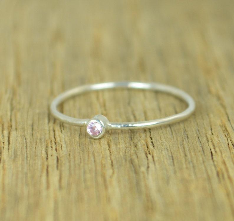 Tiny Pink Tourmaline Ring Silver Tourmaline Ring Pink image 0