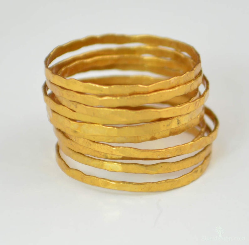 24k Gold Vermeil Stacking Rings Super Thin Gold Stack image 0