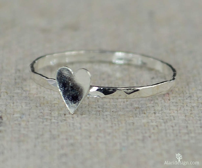 Tiny Silver Heart Ring Sterling Silver Stacking Ring image 0