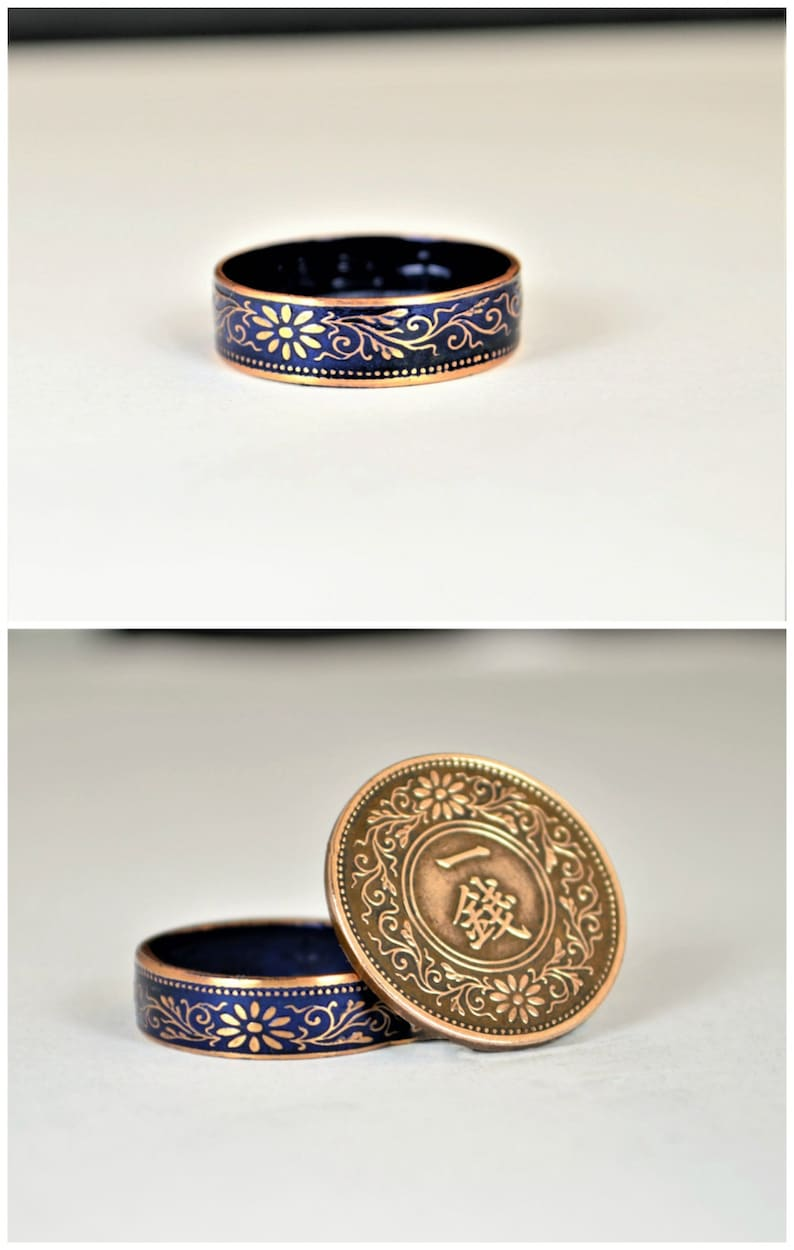 Coin Ring Japanese Coin Ring Coin Ring Bronze Ring Blue image 0