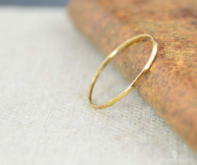 Solid 14k Yellow Gold Super Thin Stacking Ring Minimal Gold image 0