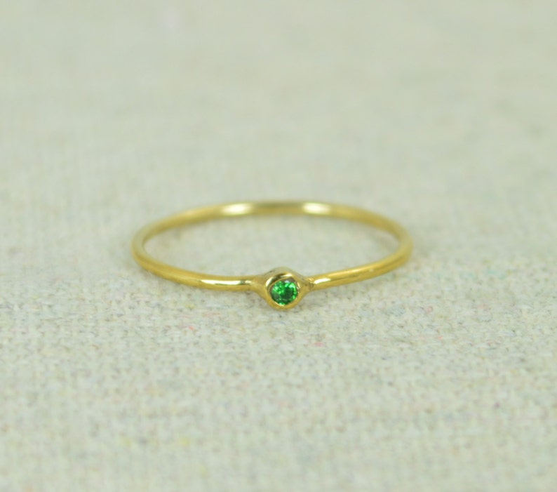 Tiny CZ Emerald Ring Gold Filled Emerald Stacking Ring Green image 0