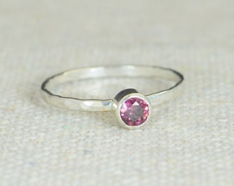 Small Alexandrite RIngs, Hammered Silver Ring, Stackable Rings, Mother's Ring, June Birthstone Ring, Alexandrite Ring, Mothers Ring