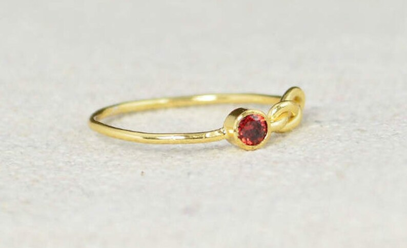 Gold Garnet Infinity Ring Gold Filled Ring Stackable Rings image 0