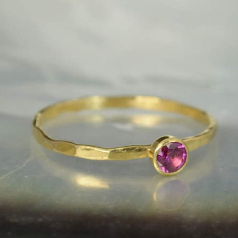 Dainty Solid 14k Gold Ruby Ring 3mm gold solitaire solitaire image 0