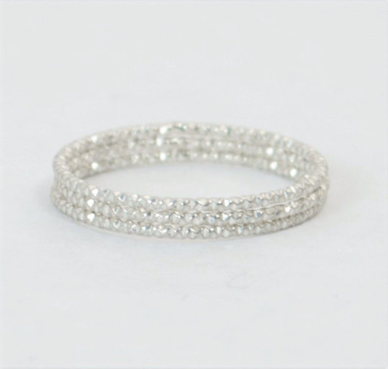 Thin Round Faceted Sterling Rings Dainty Silver Ring image 0