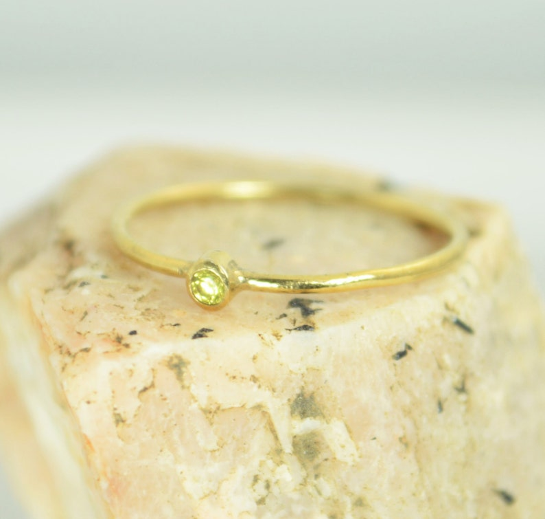 Tiny Topaz Ring Solid 14k Gold Topaz Ring Topaz Stacking image 0
