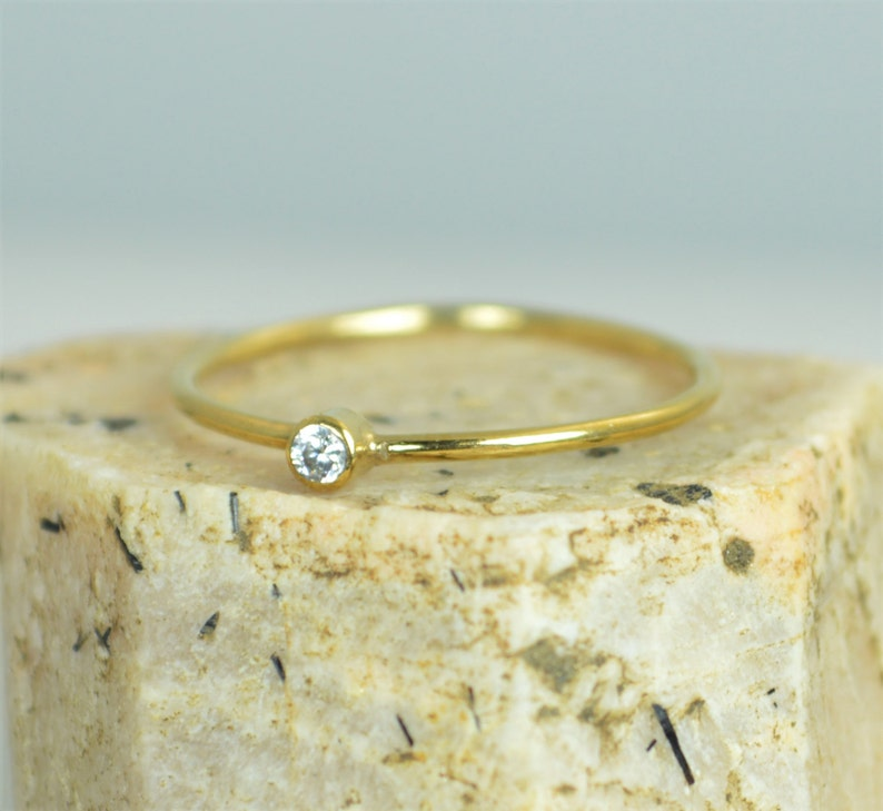 Tiny CZ Diamond Ring  Solid Gold Diamond Stacking Ring Solid image 0