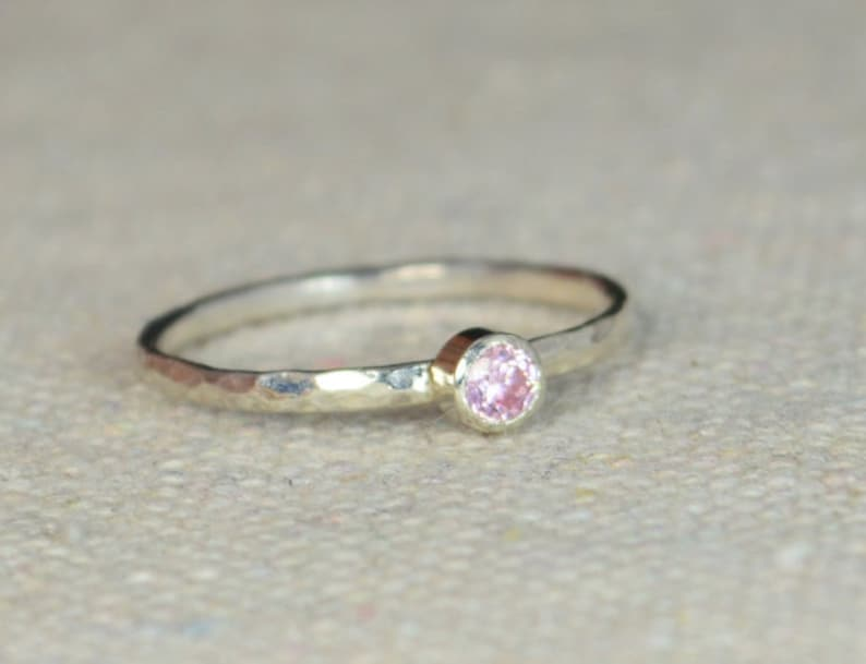 Classic Sterling Silver Pink Tourmaline Ring 3mm Silver image 0