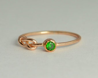 14k Rose Gold Emerald Infinity Ring, 14k Rose Gold, Stackable Rings, Mothers Ring, May Birthstone, Rose Gold Infinity, Rose Gold Knot Ring