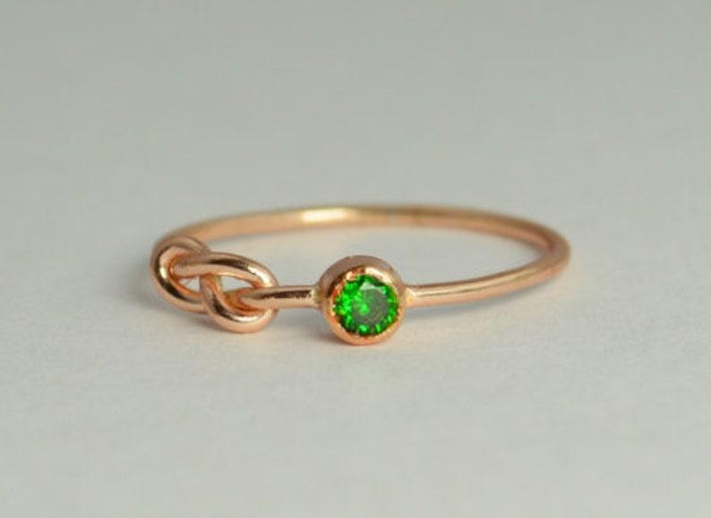 14k Rose Gold Emerald Infinity Ring 14k Rose Gold Stackable image 0