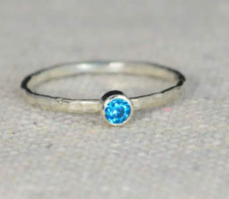 Classic Sterling Silver Blue Zircon Ring 3mm Silver image 0