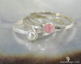 Pure Love Ring Set, Anniversary Gift, Gift for Wife, Gift for Girlfriend, Gift for Daughter, Silver Pearl Ring, Silver Rose Quartz Ring