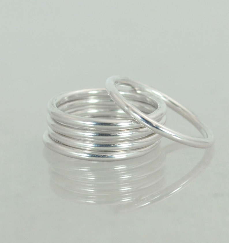 Round Classic Silver Stacking Rings Heirloom Quality Fine image 1