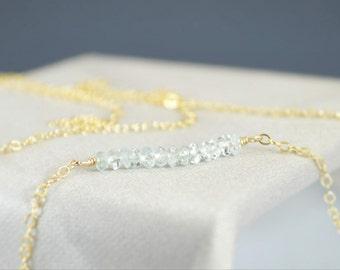 Aquamarine Necklace, Gem Bar, Dainty 14k Gold Fill, Sterling Silver, Rose Gold, Blue Necklace, Faceted Aquamarine, Bar Necklace, Gold