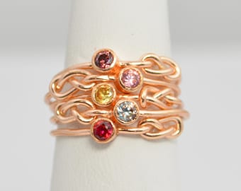 Grab 5 14k Rose Gold Filled Infinity Ring, Rose Gold Filled Ring , Stackable Rings, Mothers Ring, Birthstone, Rose Gold, Rose Gold Knot Ring