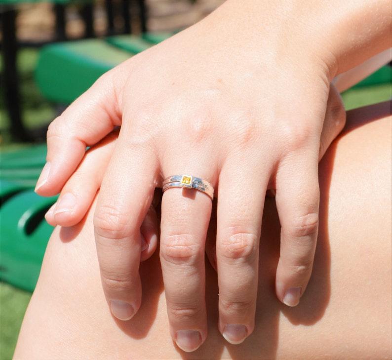 Square Topaz Ring Topaz Solitaire Topaz Silver Ring image 0