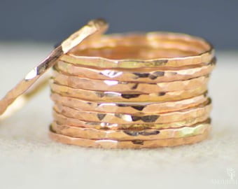 Super Thin 14k Rose Gold Ring(s), 14k Rose Gold Filled,  Rose Gold Stacking Rings, Simple Rose Gold Ring, Thin Rose Gold Rings, Dainty Rings