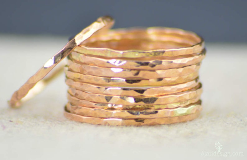 Super Thin 14k Rose Gold Rings 14k Rose Gold Filled  Rose image 0