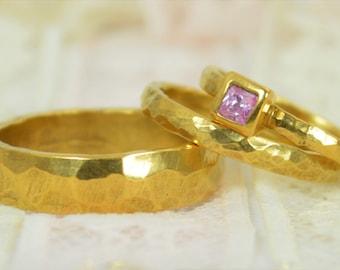 Square Pink Tourmaline Engagement Ring, 14k Gold, Tourmaline Wedding Ring Set, Rustic Wedding Ring Set, October Birthstone Tourmaline