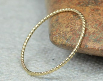 Thin Solid 14k Gold Twist Stackable Ring(s), Stacking Rings, Dainty Gold Ring, Solid Gold Ring, Gold Rings, Thin Elegant Solid Gold Ring