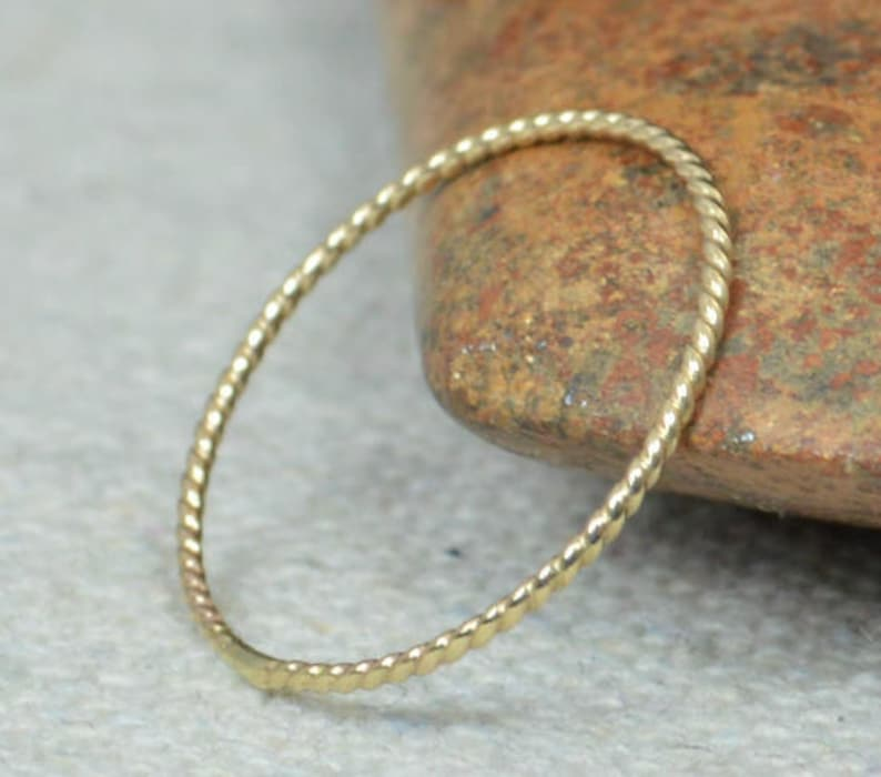 Thin Solid 14k Gold Twist Stackable Rings Stacking Rings image 0