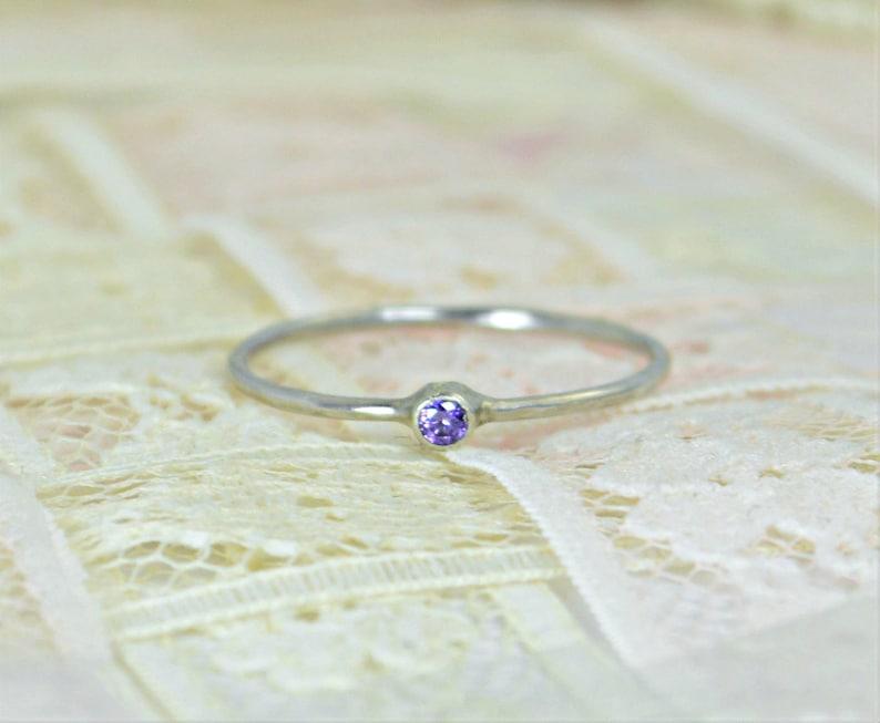 Tiny Amethyst Ring Set Solid White Gold Wedding Set Amethyst image 0