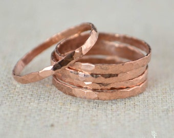 Thick Stackable Copper Ring(s), Copper Rings, Stackable Rings, Copper Ring, Hammered Copper, Copper Band, Arthritis Ring, Copper Jewelry