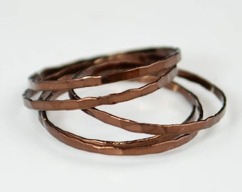 Set of 5 Super Thin Chocolate Silver Stackable Rings, Brown Ring, Brown Stacking Rings,  Brown Jewelry, Stacking Ring Set, Chocolate Ring