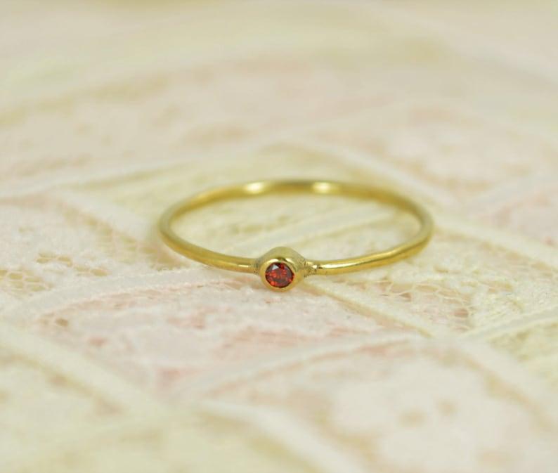Tiny Garnet Ring Set Solid 14k Gold Wedding Set Garnet image 0
