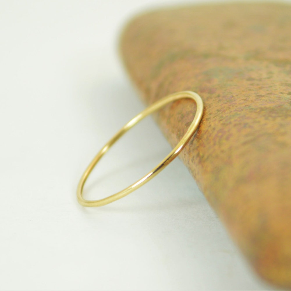 Solid 14k Yellow Gold  Ring Super Thin Stacking Round image 0