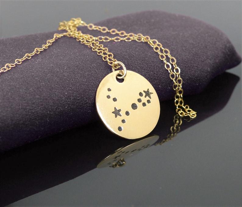 14k Gold Filled Pisces Necklace Gold Pisces Necklace Gold image 0