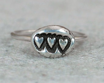 Unique Mothers Ring, 3 Heart Ring, Three heart ring, Tribal Ring,  Bohemian Ring, Silver Ring, Sterling Ring, Stacking Ring, gypsy ring