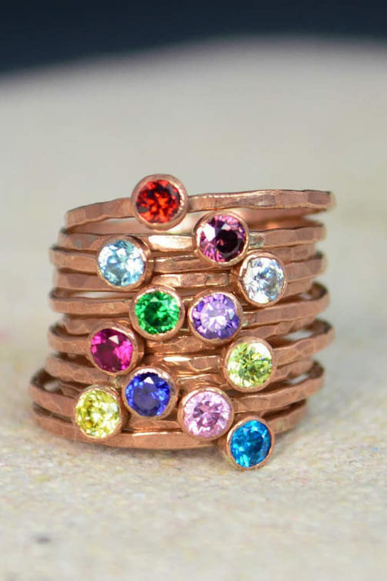 Dainty Copper Mothers Ring Copper Stacking Ring Mommy Ring image 0